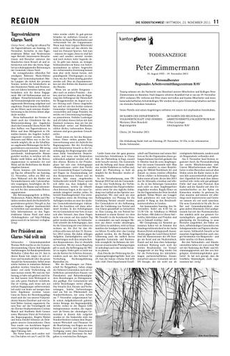 Der Präsident aus Glarus Süd teilt mit