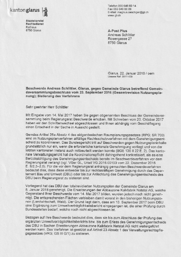 Scan Staatskanzlei Sistierung Verfahrens 2018 01 22