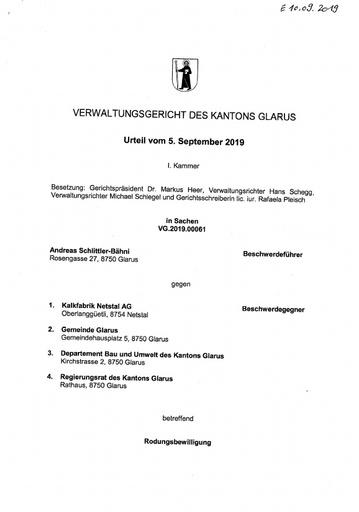 Scan Rodungsbewilligung Urteil VG 2019 00061 2019 09 10
