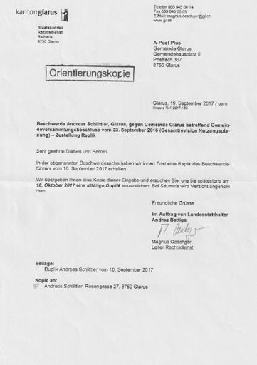 Scan Staatskanzlei Gemeinde Glarus Duplik Nutzungsplanung Ende Schriftenwechsel 2017 09 19 2017 10 13 2017 10 20