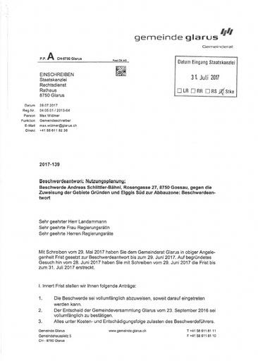 Scan  Schlittler Nutzungsplanung Beschwerdeantwort Gemeinde Glarus 2017 07 28