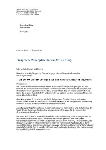 Schlittler Einsprache Nutzungsplan Glarus 2016 02 29