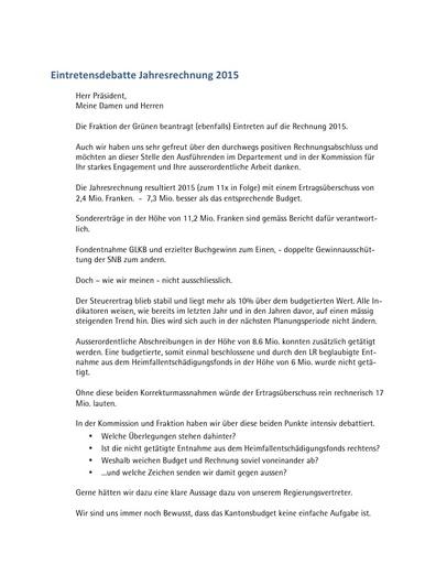 Eintretensdebatte Rechnung 2015