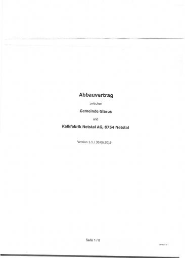 (Beilage 14) Abbauvertrag Gemeinde Glarus KFN Version 1. 1. vom 30.06.2016