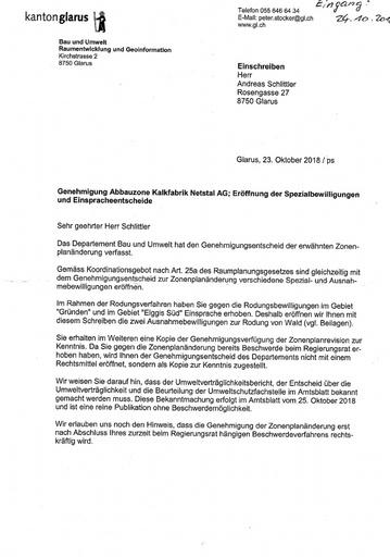 Scan Genehmigung Abbauzone KFN Eröffnung Spezialbewilligungen Einspracheentscheid Stocker 2018 10 23