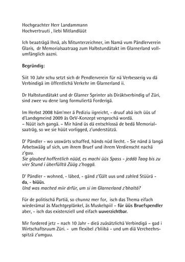 Landsgemeinderede 2011 / Traktandum 8 / Halbstundentakt im Glarnerland