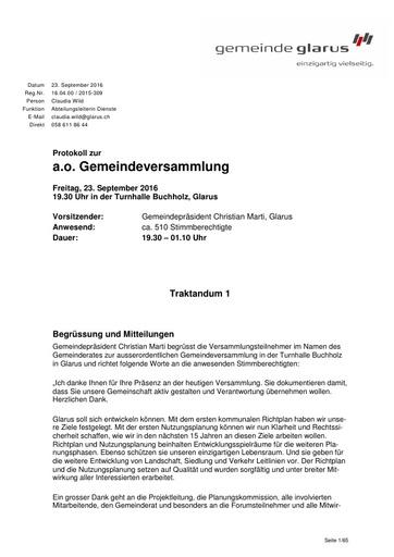 (zu Beilage 4) Protokoll  der a.o. Gemeindeversammlung Glarus vom 23.9.2016 (gesamt)