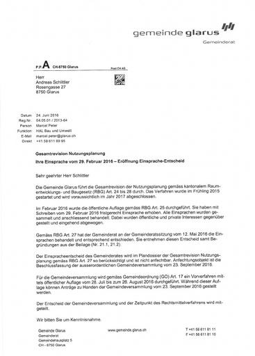 Scan  Schlittler Nutzungsplan  Einsprache Entscheid Gemeinde Glarus 2016 06 24