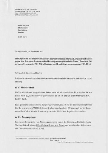Scan Schlittler Stellungnahme Beschwerdeantwort Gemeinde Glarus Beschwerde Beschluss Nutzungsplan aoGemeindeversammlung 2017 09 10