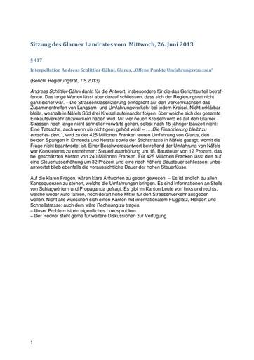LR Sitzung 26. Juni 2013 - Antwort RR Interpellation Umfahrungsstrasse