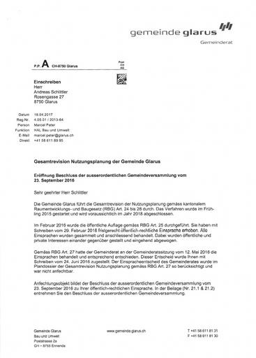 Scan  Schlittler Nutzungsplan  Eroeffnung Beschluss Gemeinde Glarus 2017 04 18