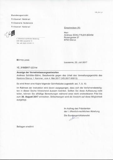 Mitteilung BG an Schlittler vom 25.07.2017