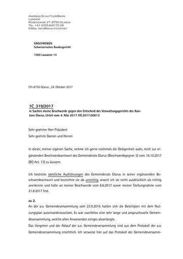 Stimmrechtsbeschwerde Schlittler Glarus Bundesgericht Duplik auf 2 Stellungnahme GR final1