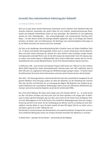 """Originalartikel """"Gesucht: Fahrzeug der Zukunft!"""""""