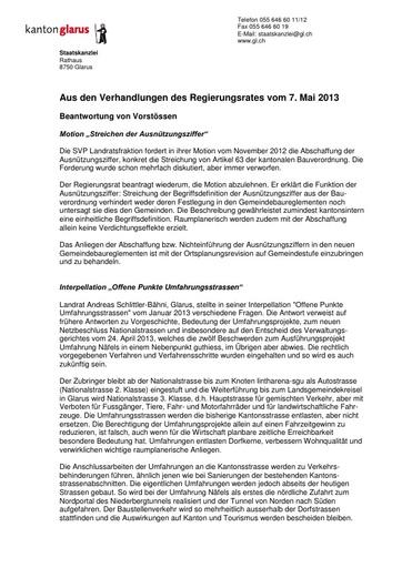 Bulletin Nr. 16 des RR des Kt. Glarus