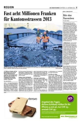 Fast acht Millionen Franken für Kantonsstrassen 2013