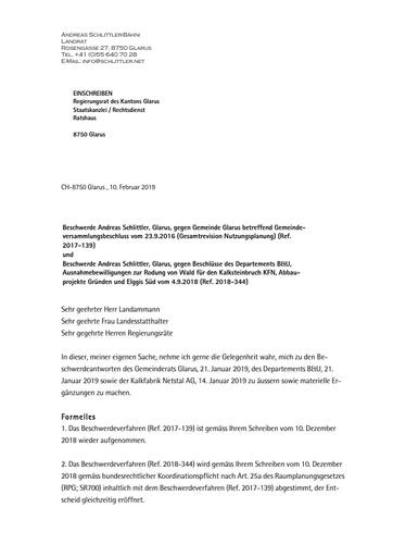 Replik Beschwerdeantworten Nutzungsplan Rodungsbewilligung B&U KFN GR Glarus