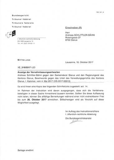 2. Vernehmlassungsantwort Gemeinde Glarus - BG