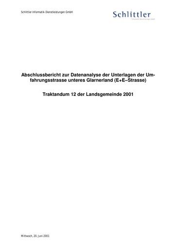 Abschlussbericht zur Datenanalyse E+E Strasse