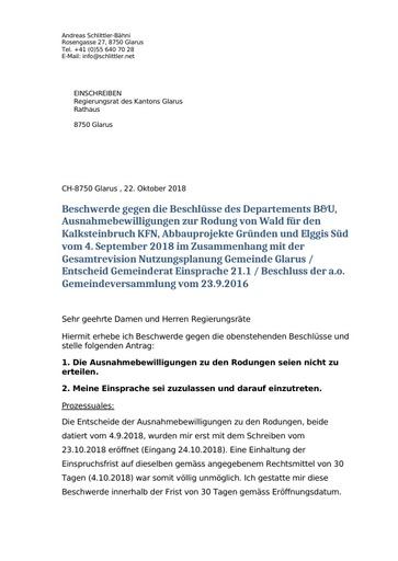 Ergänzung Einsprache Nutzungsplan Glarus Regierungsrat