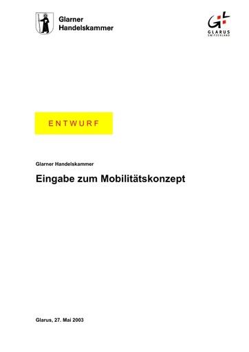 Eingabe Mobilitätskonzept Handelskammer GL