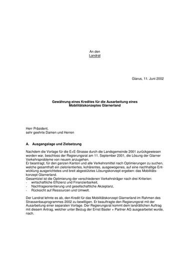 Antrag Gewährung eines Kredites für die Ausarbeitung eines Mobilitätskonzeptes Glarnerland