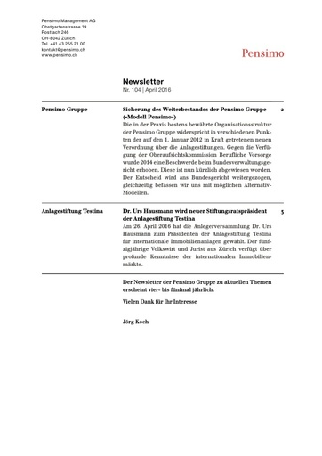 (Beilage 24) Newsletter Pensimo 104 2016 2. Teil