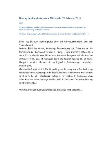 Landratssitzung vom 05. Februar 2014