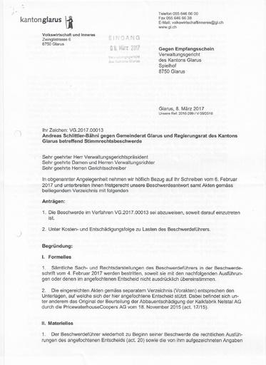 (Beilage 35 BG) Beschwerdeantwort Regierungsrat Glarus Verwaltungsgericht vom 8.3.2017