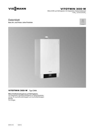 Technische Daten Vitotwin 300-W