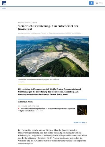 (Beilage 39/4) Aargauer Zeitung Steinbruch Erweiterung: Nun entscheidet der Grosse Rat   Brugg   Aargau   az Aargauer Zeitung