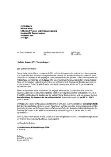 Anfrage ARE - Bundesamt für Raumentwicklung / Sachpläne