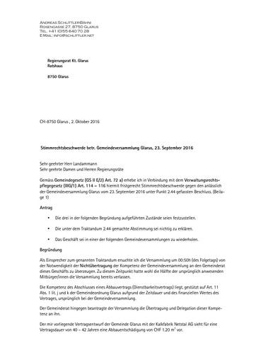 (Beilage 1 BG) Stimmrechtsbeschwerde a o Gemeindeversammlung Glarus Schlittler an RR