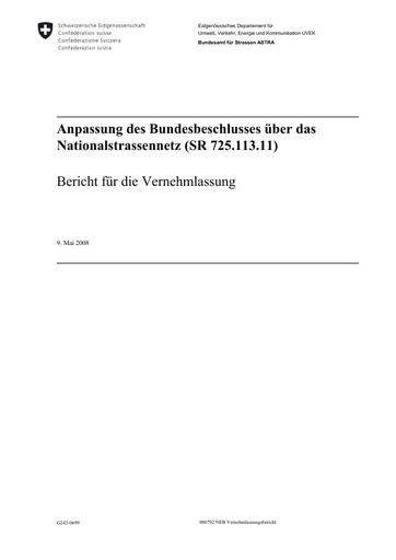 Anpassung des Bundesbeschlusses über das Nationalstrassennetz (SR 725.113.11)