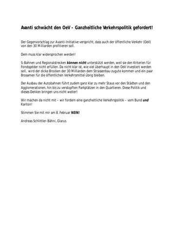 Avanti schwächt den OeV - Ganzheitliche Verkehrspolitik gefordert!