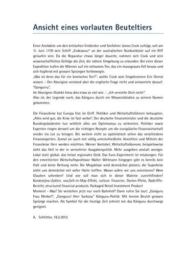 """Originalartikel """"Ansicht eines vorlauten Beuteltiers"""""""