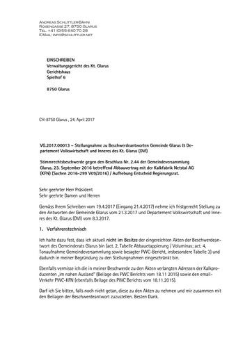 (Beilage 39 BG) Stimmrechtsbeschwerde Glarus, Verwaltungsgericht, Replik Schlittler zu Stellungnahmen Gemeinde Kanton