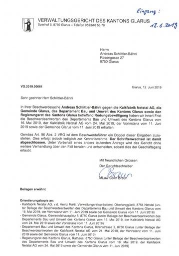 Scan VG 2019 00061 Orientierungskopien Stellungnahme B&U RR Gemeinde Glarus KFN 2019 06 12