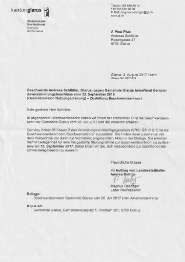 Scan Staatskanzlei Gemeinde Glarus Beschwerdeantwort Nutzungsplanung 2017 08 02 2017 07 28