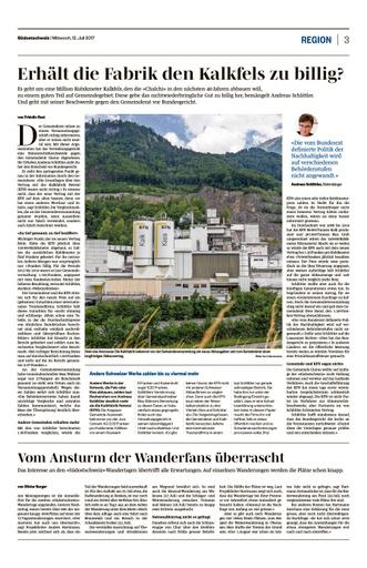 Bericht der Südostschweiz SO Seite 3, 12.07.2017 - Weiterzug VG Entscheid ans Bundesgericht - Abbauvertrag Gemeinde Glarus mit KFN
