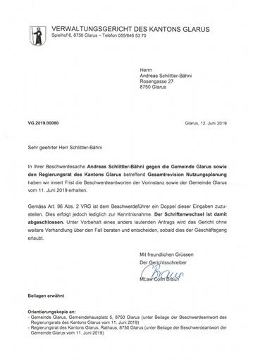 Scan VG 2019 00060 Orientierungskopien Stellungnahmen Gemeinde Glarus RR Glarus 2019 06 12