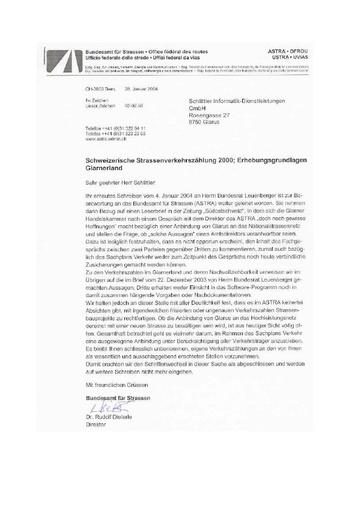 Antwort Bundesamt für Strassen ASTRA