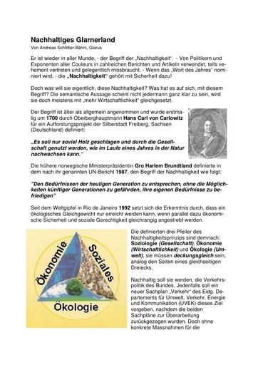 """Originalartikel: Nachhaltiges Glarnerland - Begriff """"Nachhaltigkeit"""""""