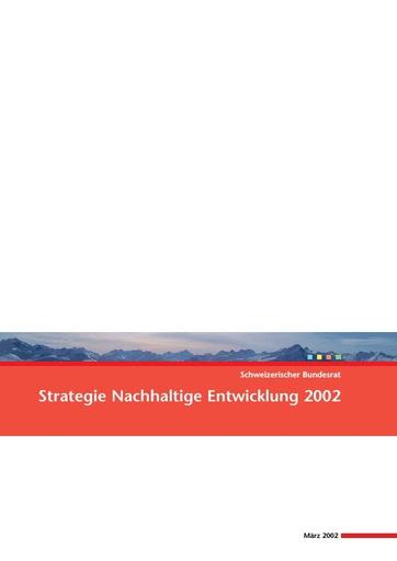 Strategie Nachhaltige Entwicklung 2002 Bundesrat