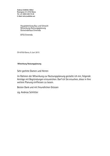 Mitwirkung Nutzungsplanung Gemeinde Glarus