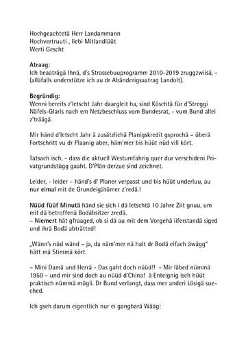 Landsgemeinderede 2010 / Traktandum 8 / Strassenbauprogramm