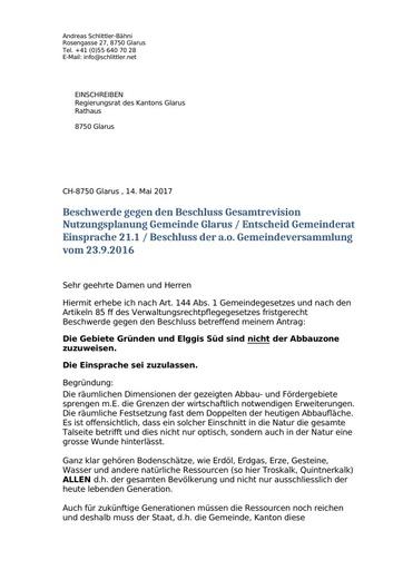 Einsprache Nutzungsplan Glarus Regierungsrat