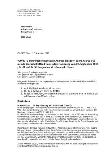 (Beilage 16 BG) Stimmrechtsbeschwerde Antwort Schlittler auf  Stellungnahme Gemeinde Glarus an VDI vom 27.11.2016