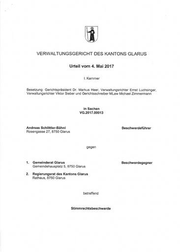 (Beilage 41) Stimmrechtsbeschwerde Schlittler, Urteil VG vom 4.5.2017