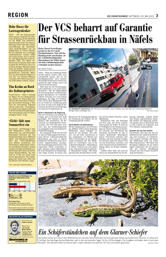 Der VCS beharrt auf Garantie für Strassenrückbau in Näfels